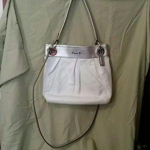 Coach Ashley White & Silver Leather Hobo Bag